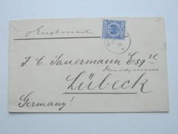 1896 , SHANGHAI , Klarer Stempel Auf 20 Pfg. Adler , Brief Nach Lübeck - Deutsche Post In China