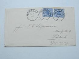 1897 , SHANGHAI , Klarer Stempel Auf 2 Mal 20 Pfg. Adler , Brief Nach Lübeck - Deutsche Post In China
