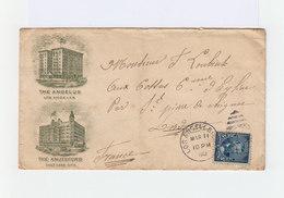 Sur Enveloppe Vers France Décorée Buldings Timbre Effigie 5 C. CAD Los Angeles 1902.  CAD New York For B'oh. (1041x) - Marcophilie
