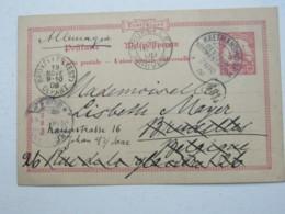 DSW , 10 Pfg. Ganzsache Aus Keetmannshoop  Nach Brüssel , Nachgeschickt  , 1906 - Kolonie: Deutsch-Südwestafrika