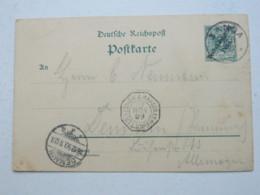 DOA , 1899 ,   Ganzsache  Von Tangamit Franz. Seepoststempel - Kolonie: Deutsch-Ostafrika