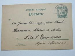 KAROLINEN , 1911 , TRUK   , Klarer Stempel Auf  Ganzsache , Rs. Viel Text , An SMS  Cormoran In Samoa - Kolonie: Karolinen