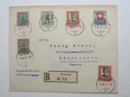 1925 , Pro Juventute , Satz Auf Einschreiben , FDC , Erstagsbrief Nach Deutschland , Aus Brunnen , Rarität - Suisse
