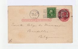 Carte Entier Postal One Cent Mc Kinley, Avec Timbre 1 Cent. CAD St Louis MO 1913 Et Brussel Bruxelles. (1042x) - Entiers Postaux