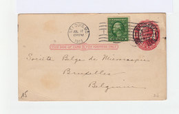 Carte Entier Postal One Cent Mc Kinley, Avec Timbre 1 Cent. CAD St Louis MO 1913 Et Brussel Bruxelles. (1042x) - Postal Stationery