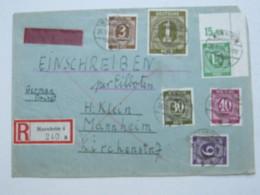 1946 , 15 Pfg. Ziffer , Eckrandstück Auf Einschreiben - Eilbrief (Vorderseite)  Aus Mannheim , Ortspost - Gemeinschaftsausgaben