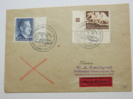1942 , 5 RM  Hitler Vom Seitenrand Auf Eilbrief Aus München , Rs. Ankunftstempel - Deutschland