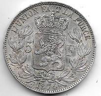 *Belguim 5 Francs 1874   Leopold II Vf+ - 1865-1909: Leopold II