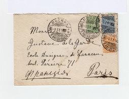 Sur Enveloppe 3 Timbres Empire Russe Armoiries CAD Mockba 1911. CAD Paris XVII Distribution. (1044x) - 1857-1916 Empire