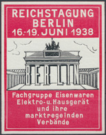 Reklame Werbung Vignette Reichstagung Berlin Eisenwarenhändler Brandenburger Tor - Stamps