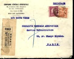 LETTRE PROVENANT DU BRÉSIL - 1929 - COMPAGNIE GÉNÉRALE AÉROPOSTALE - RECOMMANDÉ - - Lettres & Documents