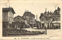 - Dpt Div -ref-AF530- Haute Savoie - Annemasse - Place De La Gare Et Les Hotels - Hotel De La Gare - Hotel De L Europe - - Annemasse