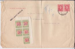 Australia 1942 KG VI Definitives Regular Stamps Classics Mi.166 And 3d Due Mi.34 Ax Adelaide Mail Cover EUR 60 - 1937-52 George VI