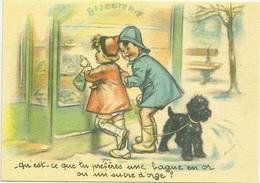CPM. G. BOURET -  QU'EST-CE QUE TU PREFERES UNE BAGUE EN OR OU UN SUCRE D'ORGE ?.... CARTE NON ECRITE . 2 SCANES - Bouret, Germaine
