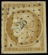 EMISSION DE 1849 - 1    10c. Bistre-jaune, Obl. PC 826, Belles Marges, TTB - 1849-1850 Cérès