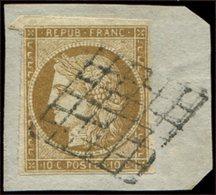 EMISSION DE 1849 - 1    10c. Bistre-jaune, Obl. GRILLE S. Petit Fragt, TB - 1849-1850 Ceres