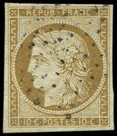 EMISSION DE 1849 - 1    10c. Bistre-jaune, Oblitéré ETOILE, Frappe Légère, TB. C - 1849-1850 Cérès