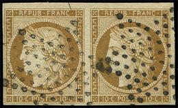 EMISSION DE 1849 - 1    10c. Bistre Jaune, PAIRE Obl. ETOILE, TB. Br - 1849-1850 Cérès