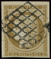 EMISSION DE 1849 - 1b   10c. Bistre-VERDATRE, Oblitéré GRILLE, TTB. C - 1849-1850 Cérès