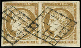 EMISSION DE 1849 - 1b   10c. Bistre-VERDATRE, PAIRE Oblitérée GRILLE, TB. C - 1849-1850 Cérès
