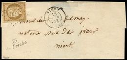 Let EMISSION DE 1849 - 1    10c. Bistre Jaune, Obl. PC 1019 S. LSC, Càd T15 NIORT 15/11/52 Et Cursive 75/LA CRECHE, TB - 1849-1850 Cérès
