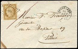 Let EMISSION DE 1849 - 1    10c. Bistre Jaune Obl. PC 83 S. Env., Càd T15 ANGOULEME 14/8/54, Au Verso Càd PARIS POSTE RE - 1849-1850 Cérès