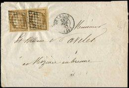 Let EMISSION DE 1849 - 1    10c. Bistre Jaune, PAIRE Obl. GRILLE S. LAC, Càd T15 ORLEANS 24/11/50, TB, Cote Maury - 1849-1850 Cérès