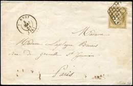 Let EMISSION DE 1849 - 1b   10c. Bistre-VERDATRE, Obl. GRILLE Sur LAC, Càd HORNOY 8/5/51, TB. C, Cote Maury - 1849-1850 Cérès
