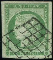 EMISSION DE 1849 - 2    15c. Vert, Grandes Marges, Obl. GRILLE, TTB. Br - 1849-1850 Cérès