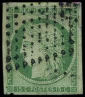 EMISSION DE 1849 - 2    15c. Vert, Oblitéré Losange De Pts TB - 1849-1850 Cérès