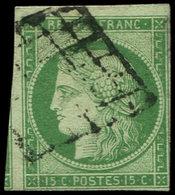 EMISSION DE 1849 - 2    15c. Vert, Filet Touché Dans Un Angle, Amorce De Voisin, Obl. GRILLE, B/TB - 1849-1850 Cérès