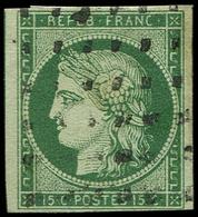 EMISSION DE 1849 - 2b   15c. Vert FONCE, Obl. GROS POINTS, TB - 1849-1850 Cérès