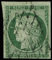 EMISSION DE 1849 - 2b   15c. Vert Foncé, Petite Variété D'impression Dans Le Médaillon, Oblitéré GRILLE SANS FIN, TB - 1849-1850 Cérès