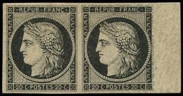 * EMISSION DE 1849 - 3    20c. Noir Sur Jaune, PAIRE Bdf, TB. Br - 1849-1850 Cérès