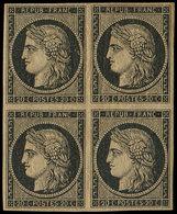 * EMISSION DE 1849 - 3    20c. Noir Sur Jaune (tirant Sur Le Chamois), BLOC De 4, Un Ex. ** Mais Infime Rousseur, Les Au - 1849-1850 Cérès