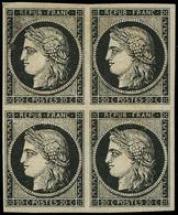 * EMISSION DE 1849 - 3a   20c. Noir Sur Blanc, BLOC De 4, Infime Charnière, 1 Ex. **, Petite Variété D'impression S. Un  - 1849-1850 Cérès