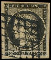 EMISSION DE 1849 - 3    20c. Noir Sur Jaune, Obl. GRILLE, Belles Marges, TTB - 1849-1850 Cérès