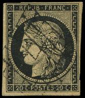 EMISSION DE 1849 - 3    20c. Noir Sur Jaune Foncé, Oblitéré GRILLE, TB - 1849-1850 Cérès
