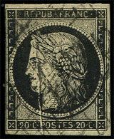 EMISSION DE 1849 - 3    20c. Noir Sur Jaune, Obl. GRILLE, PLI ACCORDEON, R Et TB. C - 1849-1850 Cérès