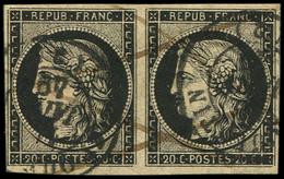 EMISSION DE 1849 - 3    20c. Noir Sur Jaune, PAIRE Obl. Càd T15 11 JANV 49 St QUENTIN Et Plume, TB. J - 1849-1850 Cérès