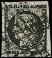 EMISSION DE 1849 - 3a   20c. Noir Sur Blanc, Grandes Marges, Amorce De Voisin à Droite, Obl. GRILLE, TTB - 1849-1850 Cérès
