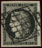 EMISSION DE 1849 - 3a   20c. Noir Sur Blanc, Grandes Marges, Filet De Voisin à Droite, Obl. GRILLE, Superbe - 1849-1850 Cérès