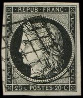 EMISSION DE 1849 - 3a   20c. Noir Sur Blanc, Obl. GRILLE, TTB - 1849-1850 Cérès