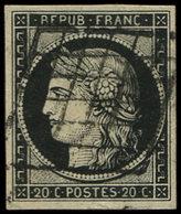EMISSION DE 1849 - 3h   20c. Noir Intense, Oblitéré GRILLE, TB - 1849-1850 Cérès