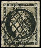 EMISSION DE 1849 - 3f   20c. Noir S. Teinté, Obl. GRILLE, TTB N° Maury - 1849-1850 Cérès