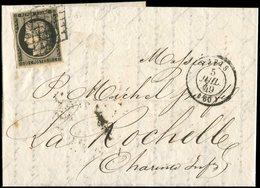 Let EMISSION DE 1849 - 3    20c. Noir Sur Jaune, Obl. GRILLE S. LAC, Càd T15 PARIS 5/7/49, TB - 1849-1850 Cérès