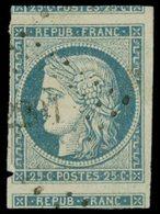 EMISSION DE 1849 - 4    25c. Bleu, 2 Voisins Mais Touché En Un Point, Obl. PC, TB - 1849-1850 Cérès