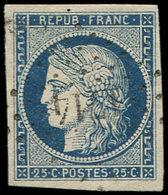 EMISSION DE 1849 - 4    25c. Bleu, Oblitéré PC 1714, Frappe Légère, TTB - 1849-1850 Cérès