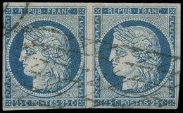 EMISSION DE 1849 - 4    25c. Bleu, PAIRE Obl. GRILLE Sans FIN Court Au Filet, TB - 1849-1850 Cérès