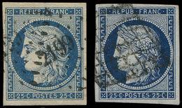 EMISSION DE 1849 - 4 Et 4a, 25c. Bleu Et Bleu Foncé, Obl. PC 2199 Et GRILLE, TB - 1849-1850 Cérès